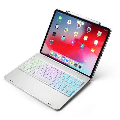 Strnry Ipad Pro 12.9 Keyboard Case 2018 Mit Stifthalter (Amerikanische Tastatur) Drahtlose Bluetooth-Tastatur Mit Bunter Hintergrundbeleuchtung/Automatischem Sleep-Wake/Ultradünner Tastatur,Silber