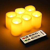 Set di 6 pezzi - Le candele senza fiamma è inodore con il bordo di design ondulato, la candela intera è avoria e la sua misure è 3.8 cm x 4.8 cm. Lampeggia come la vera fiamma ma la lampadina LED non si riscalda ed è valutata per durare per 10.000 or...