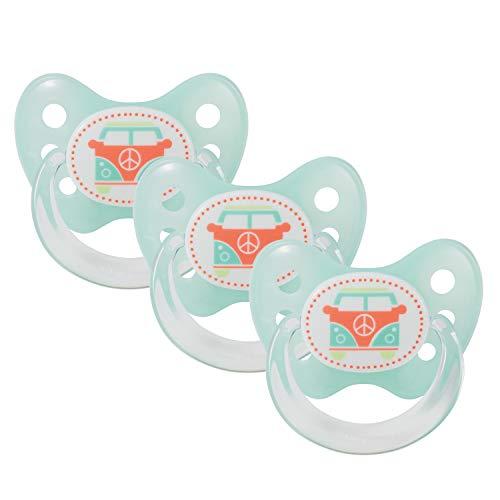 Juego de 3 chupetes Dentistar® - Chupete de silicona para bebés de tamaño 2, 6-14 meses - Dientes y mandíbula amistosos - Chupete para bebés - Turquoise Bus