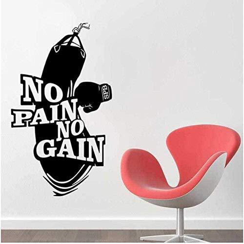 No Pain No Gain Vinyl Wandtattoo Dekoration Kunst Poster Workout Fitness Boxhandschuhe Boxsack Wandaufkleber Wandbild 33X57Cm