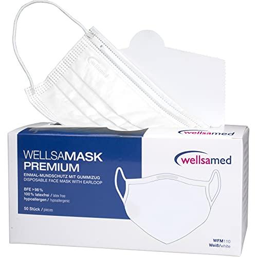 wellsamed wellsamask Mundschutz Gummibänder, Mund und Nasenschutz, OP-Masken, Einweg, 50 Stück, Weiß weiss, CE/EN 14683 Typ IIR (Typ 2R) 3-lagig