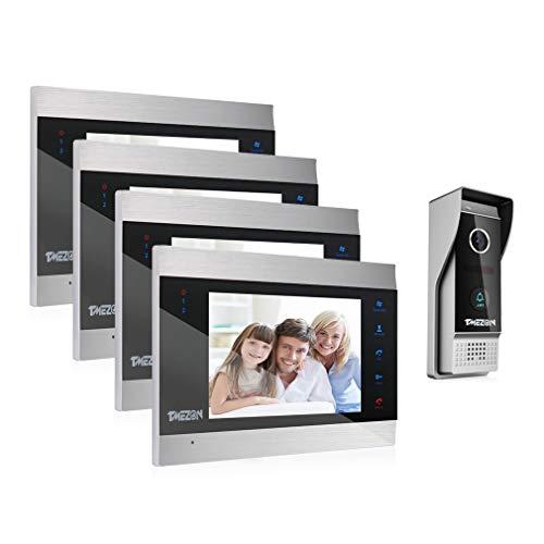 TMEZON Video Türsprechanlage Türklingel Intercom System, Türsprechanlage mit 1080P 7 Zoll 4-Monitor 1-Kamera Für 1-Familienhaus, Touch-Taste, Nachtsicht, Unterstützung automatisch Snapshot/Aufnahme