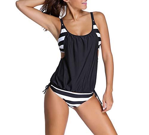 SUNNOW® Damen Bikini Set Streifen zweiteilig Schwimmanzug Tankini Bademode Strand Bikini Oberteile + Höschen (EU 44, Schwarz)