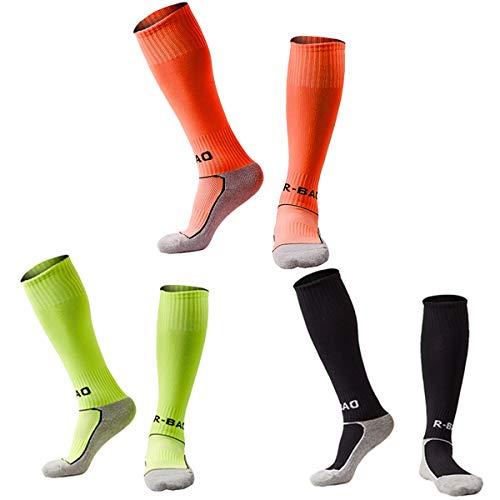 Little Kids Soccer Socks Cushion Bottom Long Tube Compression Football Socks 3 Pack (Neon Orange + Lime Green + Black) XS