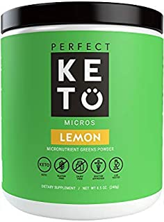 Perfect Keto Greens Superfood Powder: Super Micro Green Drink & MCT Oil, Best as Low Carb Ketogenic Diet Supplement for Ketosis, Amazing for Ketones and Athletic Diets (Lemon)