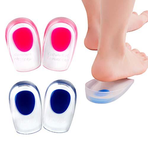 2 Paar Gel Fersenkissen, SenPuSi Silikon Fersenschale Pads, Schuheinlagen Fersenstütze Fersenkappen Geleinlagen für Achillessehne Unterstützung zum Fußpflege(Fit Schuhgröße von 35-39)