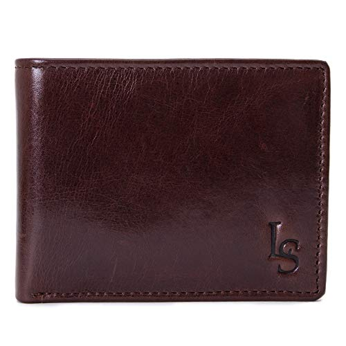 LOUIS STITCH Italian Leather  Men's Wallet Rosewood Brown