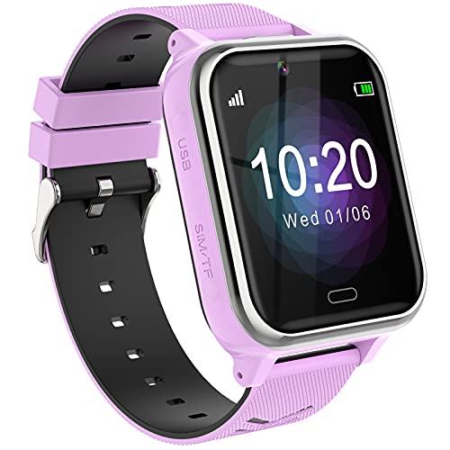Reloj Teléfono para Niños,Smartwatch Llamadas Bidireccionales Despertador Cámara Linterna Alarma Pantalla Táctil Reloj Inteligente para Niños Regalo Estudiantes Regalo para Niños Niña 3-12(Morado)