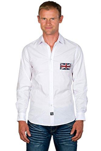 UGHOLIN - Chemise Casual – Slim Fit – Unie – Coton - Col Chemise Classique – Blanche - Union Jack - Homme - S - Blanche