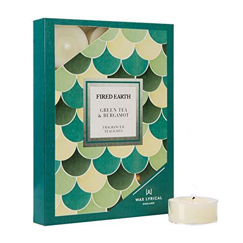 Wax Lyrische Gestookte Aarde Doos van 12 Groene Thee & Bergamot Tealight Kaarsen