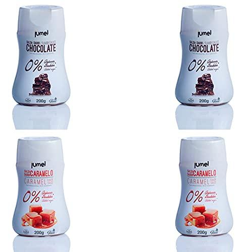 Sirope ESPECIAL FITNESS JUMEL 0% SIN grasas SIN gluten y CON STEVIA. Solo 3 Kcal por ración. Multisabor caramelo y chocolate. Envase antigoteo. Diet. Fitness.