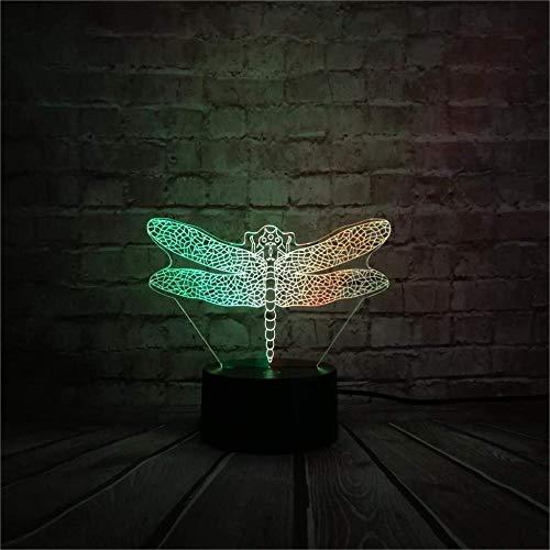 Lámpara 3D ilusión luz de noche de inteligente Libélula insecto decoración del hogar y para codormir Con interfaz USB, cambio de color colorido