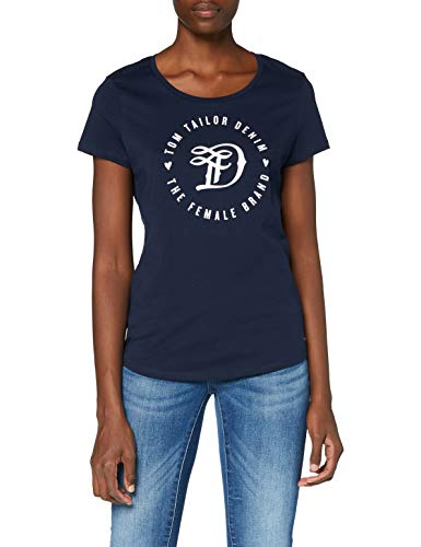 TOM TAILOR Denim Damen Doppelpack Basic Logo Tee T-Shirt, Blau (10360), L