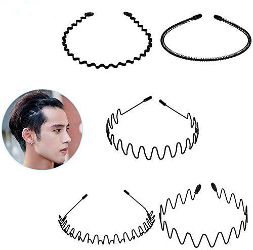 Ninonly カチューシャ ヘアバンド スプリング 滑り止め 痛くない シンプル 髪飾り 前髪 洗顔 運動 外出 メンズ レディース 5本セット(ブラック)