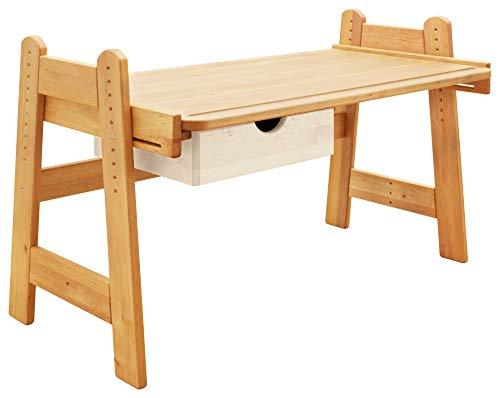 BioKinder 25142 Spar-Set Leon Kinderschreibtisch Schreibtisch für Kinder Höhenverstellbar mit Schubkasten aus Massivholz Erle und Kiefer Schubkasten weiß lasiert