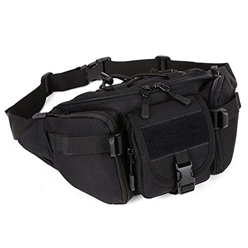 Huntvp Tactical Waist Pack Bag Military Fanny Packs WR Hip Belt Bag Pouch for Hiking Climbing Outdoor Bumbag-Black