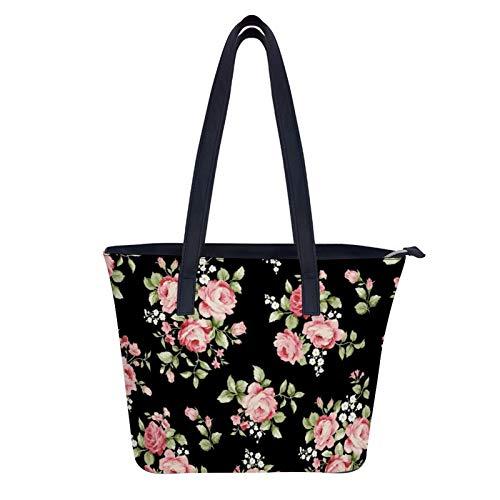 Floral Bouquet Vintage Rose Bolso grande de cuero de las mujeres bolsos de hombro con cremallera bolsa de la compra de gran capacidad PU