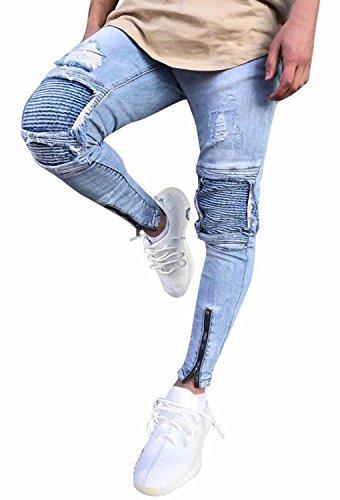 Minetom Uomo Jeans Pantaloni Cuciture Fit Distrutto Pantaloni Denim Alla Moda Con Cerniera Skinny Pants Jeans Strappati Azzurro EU L