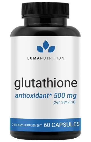 Premium Glutathione - Reduced Glutathione 500mg - Glutathione Supplement - L-Glutathione - Antioxidant Support - Liver Detox - 60 Capsules