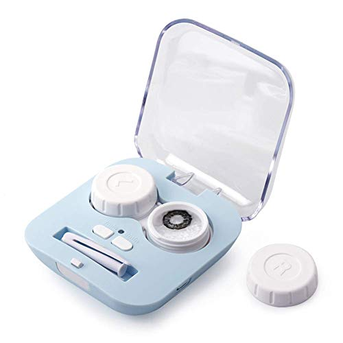 Contact Lens Cleaner, Portable Contact Lens Cleaner Kit Daily Care Faster Cleaning for Contact Lens (New Version) (Blue)