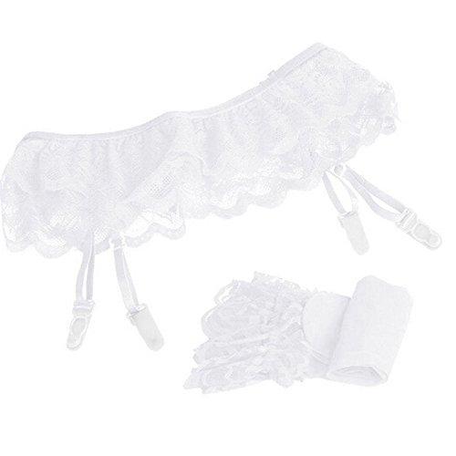 Soolike Calcetines De Encaje Bowknot, Medias De Encaje hasta El Muslo, Calcetines De San Valentín con Lazo para Mujer sobre El Vestido De Rodilla