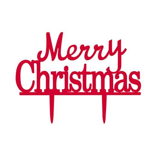 Pixnor Rot wählen Sie Merry Christmas Cake Topper Weihnachten Dekorationen (rot)