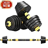 FASESH Adjustable Dumbbell Barbell Weight Pair, Free Weights 2-in-1 Set, Non-Slip Neoprene Hand, All-Purpose Workout, Training, Home, Gym, Office - Barbell Set with Connecting Rod for Men and Women