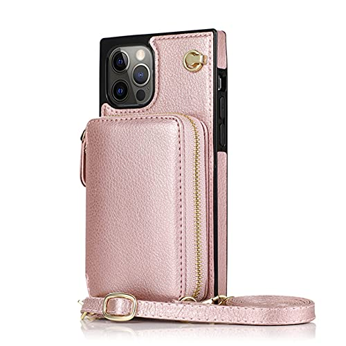 Funda con Cuerda Compatible Colgante con Cremallera con Flip multifunción para iPhone Samsung Mobile Phone 1 Bolso 3 Ranuras para Tarjeta,Rose Gold,iPhone6 6S