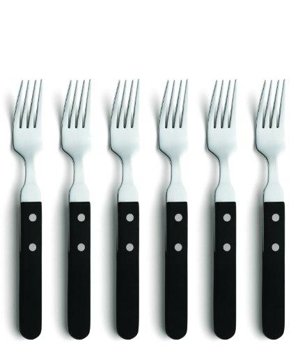 Amefa PIAZZA 7000 Steak- & Pizzagabel-Set, für 6 Personen, poliert & rostfrei, Pizzabesteck, Steakbesteck, 18/10 Edelstahl, Kunststoff, Silber/Schwarz, 6-teilig