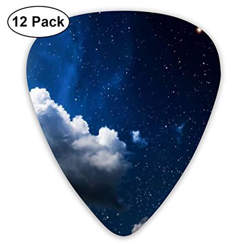 Gitaar Pick Maan Wolken Donker Hemel Behang 12 Stuk Gitaar Paddle Set Gemaakt Van Milieubescherming ABS Materiaal, Geschikt voor Gitaren, Quads, Etc