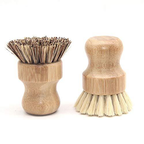 Wobye Bambus Scrub Bürsten, Natürliche Sisalborsten Küche Reinigung Scrubbers Waschbürsten für Gusseisen Töpfe, Pfannen, Geschirr, Waschbecken, Badezimmer 2 Stück