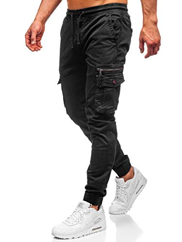 BOLF Herren Jogginghose Cargohose Sporthose Trainingshose Jogger Sweathose Fitnesshose Jogpants Fußballhose Sweatpants Beinabschluss Pants Baumwolle Slim Fit CATENVIN CT6702 Schwarz XXL [6F6]