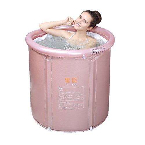 Baignoire pliante gonflable adulte de baignoire de ménage de stent de baignoire gonflable en plastique adulte de saleté/taille réglable/facile à plier rose, jaune (65 * 75cm, 75 * 80cm)