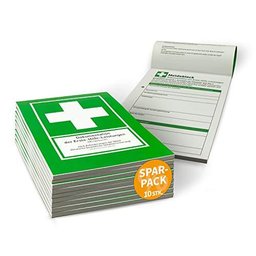 Betriebsausstattung24® Erste Hilfe Meldeblock | DIN A5 | 50 Blatt | Alternative zum Verbandbuch | Gem. DGUV | 10 STÜCK | Stand 2020