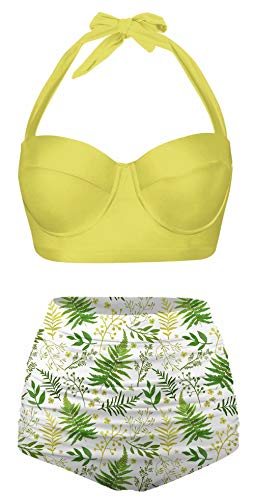 Angerella Halter Vintage Pattern with Leaves Floral Swimsuits for Women High Waisted Bikini Set, L Yellow