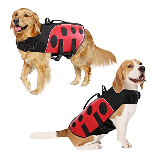 ASENKU Dog Life Jacket Pet Safety Vest Ripstop Flotation Pet Swimsuit Preserver with High Buoyancy and Durable Rescue Handle for Small, Medium, Large Dogs (Red, XL