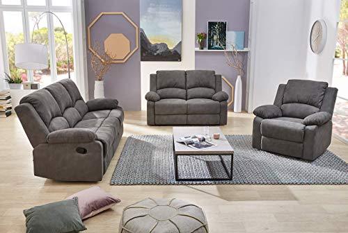 lifestyle4living Couchgarnitur in anthrazitfarbenem Stoff mit praktischer Relaxfunktion, Garnitur bestehend aus Sessel, 2-Sitzer und 3-Sitzer Sofa