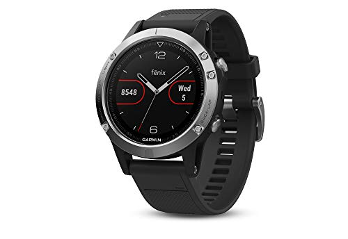 Garmin Fenix 5, Orologio GPS multisport con navigazione esterna e frequenza cardiaca basata sul polso, Silver con Banda Nera