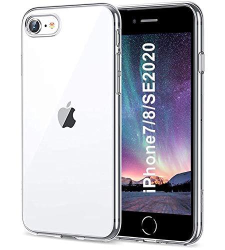 Whew Crystal Clear iPhone 7/8/SE 2020 Hülle, Ultra Transparent Hard PC Back & Soft Silikon iPhone 7/8/SE Handyhülle Vergilbungsfrei Durchsichtig Schutzhülle Kratzfest Stoßfestigkeit Slim Hülle