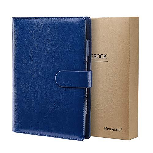 Cuaderno de Cuero A5, Maruelous Libreta Recargable, Cuaderno de Negocios, Notebook de Reuniones, Rayas/Lined Clásico con Bolsillo y Bolígrafos Bucle, 100 hojas de papel 100gsm, (Azul)
