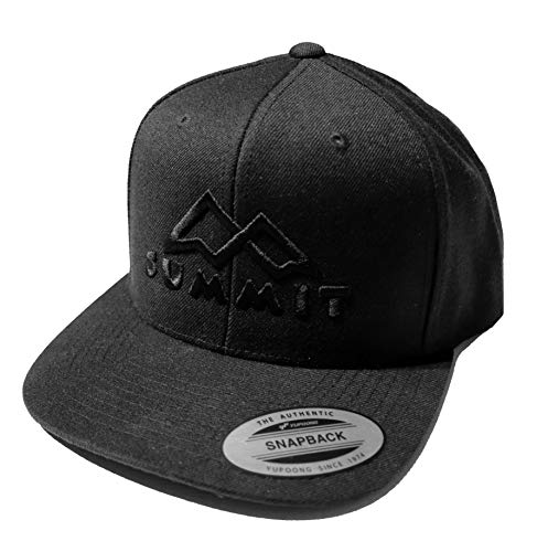 SummitLine Snapback Cap 3D Bestickung Summit   Outdoor Kappe Berge   Premium Stick (schwarz/schwarz)