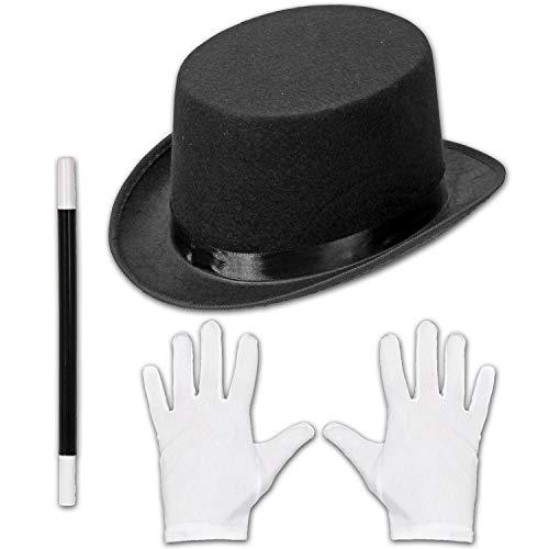 Amakando Set de Disfraz Multiusos Varita Artificial para nio y nia - Negro-Blanco - Vestimenta de hechicero para nios - Insuperable para presentaciones y Shows de Magia