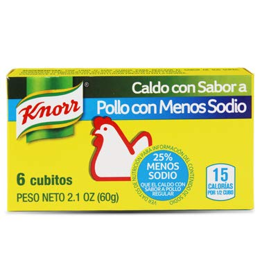 Knorr Chicken Bouillon Reduced Sodium, 2.1 Ounce - Pack of 1 (6 Cubes) Caldo Con Sabor a Gallina