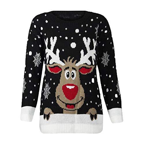 BaZhaHei Patrones de Renos de Jersey navideño para Mujer Punto Floral Imprimir Blusa para Mujer del Blusa de Mujer del Jersey de Manga Larga con Estampado de Alce para...