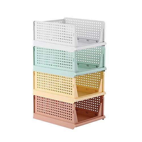 Kertou Juego de 4 organizadores apilables de plástico para armario, cesta para estanterías, cajas organizadoras, perfecto para dormitorio y cocina, caja de almacenamiento plegable para cajones
