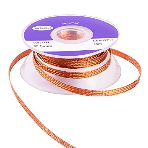 MIKIMIQI Solder Wicks, No-Clean Solder Braided Wicks Desoldering Wicks Solder Removal Tool, 0.1 Inch Width 3 Meter Length
