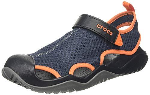Crocs Swiftwater Mesh Deck Men Gesloten sandalen, blauw (Navy/Tangerine 4V9), 42/43 EU