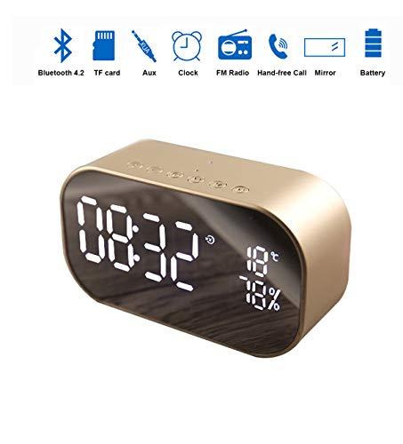 Draadloze wekker met bluetooth-luidspreker, led-spiegelklok, slaapkamerklok met thermometer, dimbaar led-display, dubbel alarm met sluimerfunctie, TF-kaartslot, FM/AUX-IN radio 80x80x64 mm Rozengoud.