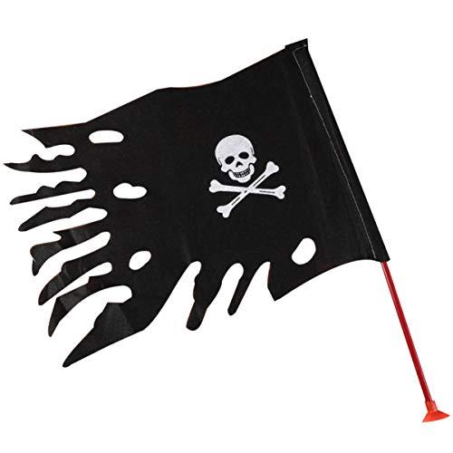 Amosfun 2 Piezas Banderas de Pirata Calavera con Parche y Bandana Favores de Fiesta Pirata Niños Cumpleaños Decoración Halloween con Soporte de Mesa