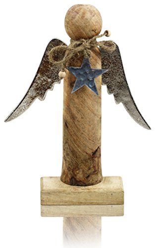 CHICCIE Ange en Bois avec Ailes en métal et Pendentif étoile 28 cm